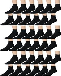 36 of Yacht & Smith Kids Cotton Quarter Ankle Socks In Black Size 6-8