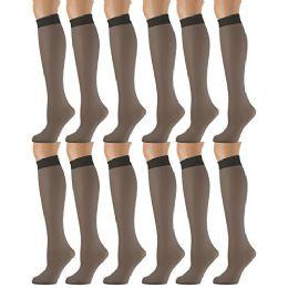 12 of Yacht & Smith Trouser Socks For Women, 20 Denier Opaque Knee High Dress Socks