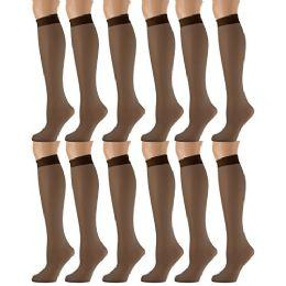 12 of 12 Pairs of SOCKSNBULK Trouser Socks for Women, 20 Denier Knee High Dress Socks (French Coffee)