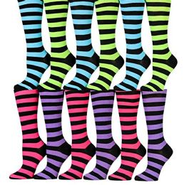 12 of Womens Knee High Socks Assorted Colors, Cotton Boot Socks Assorted Colorful Stripes
