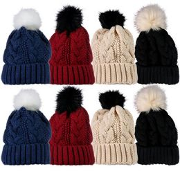 8 of Socksnbulk Value Pack Of Winter Beanie With Pom Pom, Assorted (8 Pack Solids With Faux Fur)