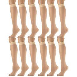 12 of Yacht & Smith Women's Trouser Socks , 20 Denier Knee High Dress Socks Tan