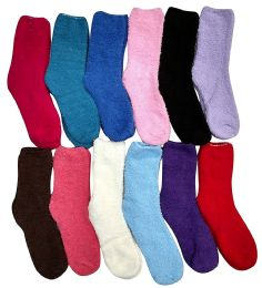 12 of Yacht & Smith Women's Solid Colored Fuzzy Socks Assorted Colors Size 9-11