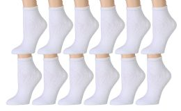 12 of Yacht & Smith Kids Cotton Quarter Ankle Socks In White Size 4-6