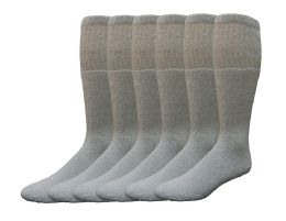 6 of Yacht & Smith Women's Cotton Tube Socks, Referee Style, Size 9-15 Solid Gray
