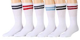 6 of Yacht & Smith Women's Cotton Striped Tube Socks, Referee Style Size 9-15 22 Inch