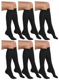 6 of Yacht & Smith Girls Black Knee High Socks , 90% Cotton Size 6-8