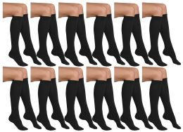12 of Yacht & Smith Girls Black Knee High Socks , 90% Cotton Size 6-8