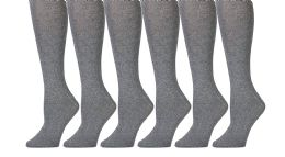 6 of Yacht & Smith 90% Cotton Heather Gray Knee High Socks For Girls
