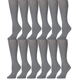 12 of Yacht & Smith 90% Cotton Heather Gray Knee High Socks For Girls