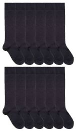 12 of 12 Pairs Of SOCKSNBULK Women's Long Knee High Socks, Solid Navy, Sock Size 9-11