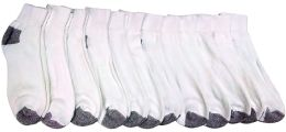 12 of Yacht & Smith Kids Ankle Socks, Low Cut, Quarter Length, Size 4-6,white With Gray Heel And Toes