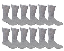 6 of Yacht & Smith Men's Loose Fit NoN-Binding Soft Cotton Diabetic Crew Socks Size 10-13 Gray