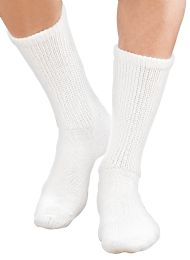 6 of Yacht & Smith Men's Loose Fit NoN-Binding Soft Cotton Diabetic Crew Socks Size 10-13 White