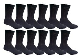 12 of Yacht & Smith Men's Loose Fit NoN-Binding Soft Cotton Diabetic Crew Socks Size 10-13 Black