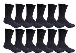 6 of Yacht & Smith Women's Cotton Diabetic NoN-Binding Crew Socks Size 9-11 Black