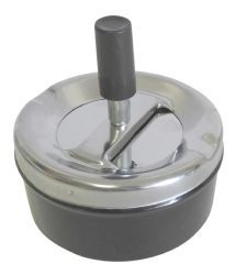 48 of Round Push Down Ashtray With Spinning Tray Black
