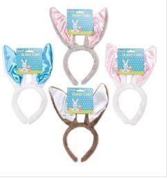 48 of Bunny Ear Headband Plush W/satin Ear 4ast Colors