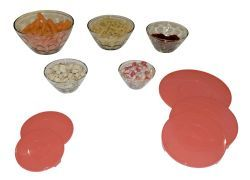 12 of 5 Piece Bevelled Glass Bowl Set With Lids