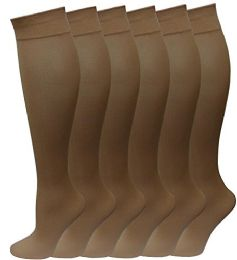 6 of 6 Pairs Pack Women Knee High Trouser Socks Opaque Stretchy Spandex (many Colors) (beige)