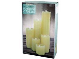 6 of Decorative Flameless Pillar Candles Set