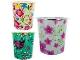 48 of Round Floral Design Wastebasket