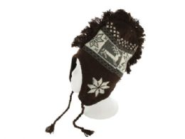 30 of Insulated Snowflake & Reindeer Design Knit Hat with Fringe
