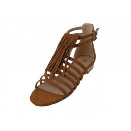 12 of Women's Mixx Shuz Gladiator With Tassel Flat Sandals Tan Color