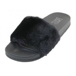 36 of Women's Faux Fur Open Toe Slide Sandals Black Color