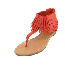 18 of Woman's Suede Thong Sandals With Tassel Red Color