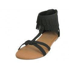 18 of Women's Suede Sandal With Tassel Black Color
