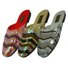 24 of Women's Sequin Sandal Assorted Color