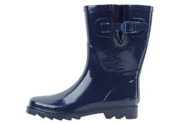 12 of Ladies' Rubber Rain Boots (9 Inches Tall) In Navy