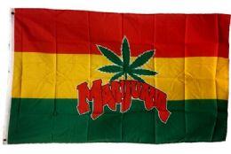 24 of Rasta Color Marijuana Leaf Flag