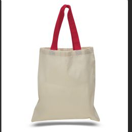 240 of 6 Ounce Cotton Canvas Tote With Contrasting HandleS-Red