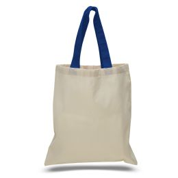 240 of 6 Ounce Cotton Canvas Tote With Contrasting HandleS-Royal