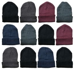 36 of Mens Winter Beanie Hats With Fleece Lining Assorted Colors