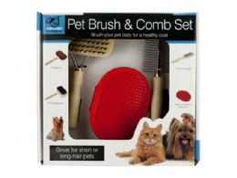 12 of Pet Brush & Comb Grooming Set