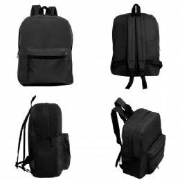 """24 of 15"""" Wholesale Basic Black Backpack"""