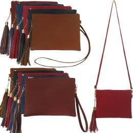 36 of Large Horizontal Faux Leather Cross Body With A Tassel, Wristlet And Cross Body Strap.