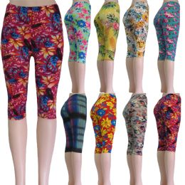 """48 of """"soft Feel"""" Below The Knee Capri Length Leggings In Assorted Prints Including Floral And Aztec"""
