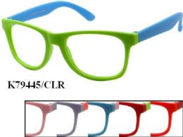 48 of Kids Plastic Frame Two Tone Eye Glasses Assorted Color