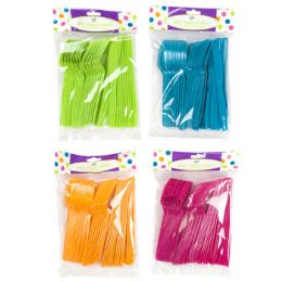 96 of 45ct Mixed Plastic Cutlery In 4asst Summer Colors Summer pb