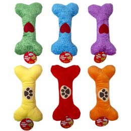 36 of 9 In Plush Bone Dog Toy W/squeaker