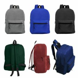 """24 of 15"""" Kids Basic Backpack In 6 Assorted Colors"""