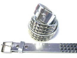 48 of Pyramid Studded Grey Belt