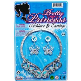 """96 of 4.75"""" Princess Necklace & 2"""" Earrings Tied On Card"""