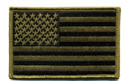 """48 of Embroidered Iron On Patch, U.s. Flag - Subdued, Approxiamtely 3.5"""" Wide"""