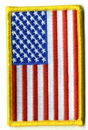 """48 of Embroidered Iron On Patch, Reverse U.s. Flag, Approximately 3.5"""" High"""
