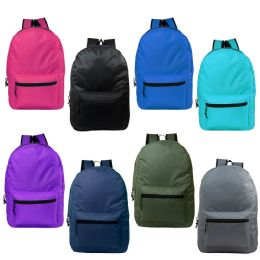"""24 of 15"""" Kids Basic Backpack In 8 Assorted Colors"""